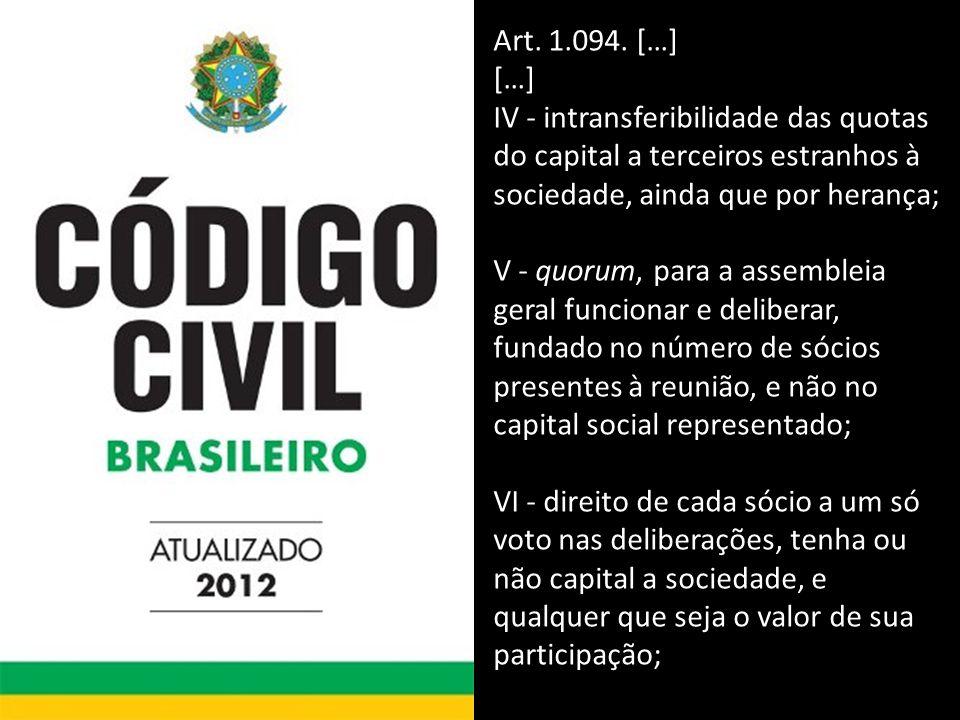Art. 1.094. […] […] IV - intransferibilidade das quotas do capital a terceiros estranhos à sociedade, ainda que por herança;
